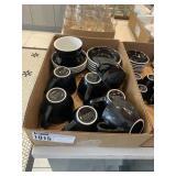 Lot Flat Asst. Large Black Coffee Mugs & Saucers