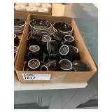 Lot Flat Medium Black Coffee Mugs & Saucers