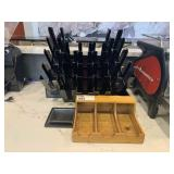 Lot 5 Black Cup Holders & Wood To Go Lid Holder