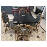 4 Bamboo Style & Faux Rattan Dining Chairs