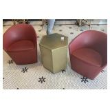 Lot 2 Red Leather Like Barrel Back Chairs w/ Gold