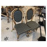2 Bamboo Style & Faux Rattan Dining Chairs