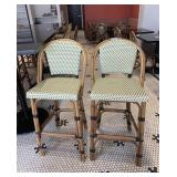 2 Bamboo Style & Faux Rattan Bar Chairs