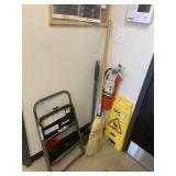 Lot Brooms, Dust Pans, Step Stool, Sanitizing
