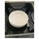 Lot Black Crate of Asst. Black & White Plates &