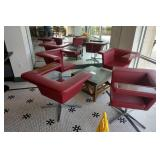 4 Retro Red Faux Leather Arm Lounge Chairs