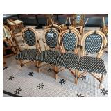 4 Bamboo Style & Faux Rattan Patio/Dining Chairs
