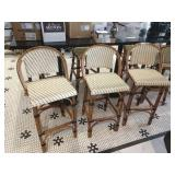 3 Bamboo Style & Faux Rattan Patio/ Bar Chairs