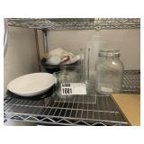 Lot Asst. Dishes, Vases, Measuring Cups, Decanters