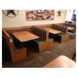 3 Sections Oak Frame 4-Top Booth Seats *No Tables*