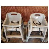 2 Grey Resin Rubbermaid Rolling High Chairs