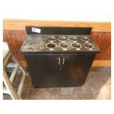 """33"""" Black Formica Flatware & Tray Stand w/ Cabinet"""