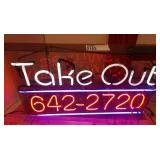 Neon Take Out Sign, Working