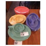 Lot Colored Oval Plates & Soup Bowls