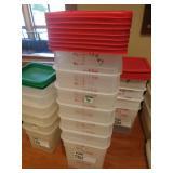 Lot 7 7.5-qt Bulk Containers w/ Red Lids