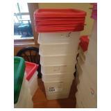 Lot 6 7.5-qt Bulk Containers w/ Red Lids