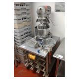 Lot Hobart 20-qt Mixer w/ Disp. Rack & Can Opener: