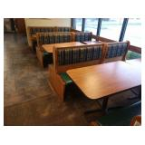 3x Sections Oak Frame 4-Top Booth Seats *No Tables