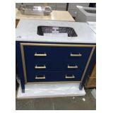 "JSG Oceana 36"" Blue Vanity w/ Granite Swirl Top,"