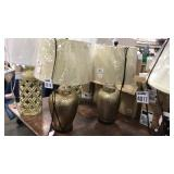 1 Lot 2 Hammered Brass Table Lamps w/ Iridescent
