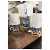 1 Lot 3 Blue & White Ceramic w/ Gold Base Table