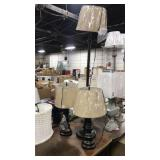 Lot 3 Rubbed Oil Bronze Lamps w/ Tan Shades: