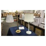 Lot 2 Table Lamps: White Table Lamp w/ Basket