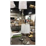 1 Lot 2 Brushed Nickel Lamps: Floor & Table Lamp