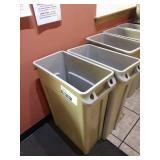 1 Lot 2 Grey Resin Trash Cans w/ Handles