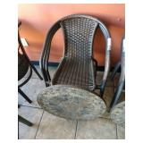 1 Lot Round Patio Table Top ** w/ (3) Faux Rattan