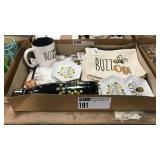 1 Lot Buzz Off Bee Gift Items: Water Bottle, Bags,