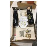 1 Lot Bee Gift Items: Bags, Trays, Water Bottles