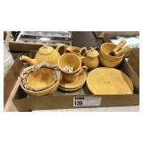 1 Lot Yellow Bee Pottery Items: Teapot, Bowls,