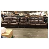 1 Lot 3-pc Chocolate Brown Sofa, Loveseat &