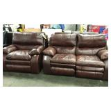 1 Lot Catnapper Brown Reclining Loveseat & Chair
