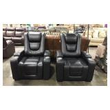 2x Myles Black Home Theater Power Recliners