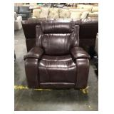Brown Gliding Recliner w/ Tan Stitching Accents
