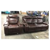 1 Lot Brown Reclining Sofa & Gliding Recliner w/