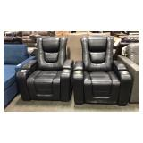 2x Myles Black Power Reclining Theater Chair w/
