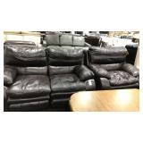 1 Lot 2-pc Catnapper Brown Reclining Loveseat &
