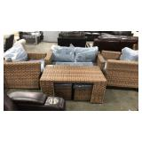 1 Lot 6-pc Brown Woven Patio Set: Loveseat