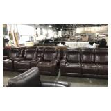 1 Lot Chocolate Brown 3-pc Set: Sofa, Loveseat &