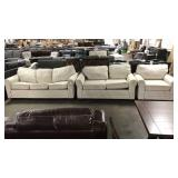 1 Lot 3-pc Cream Fabric Set **Damaged**: Sofa