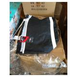 1 LOT, CASE  OF BLACK LINED BAGS W/ WHITE STRAP