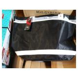 6X (6) CASES OF BLACK LINED BAGS W/ WHITE STRAPS,