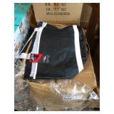 1 CASE BLACK LINED BAGS W/ WHITE STRAPS, 48 per