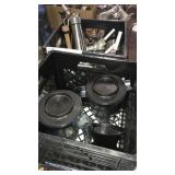 1 Lot 2 Black Crates w/ Blender Pitchers & SS Whip