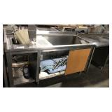 """72"""" x 30"""" SS Table w/ 1 Comp Sink & Sneeze Guard"""