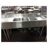 "SupremeMetal 59"" 3-Comp Bar Sink"
