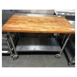 Rolling Butcher Block Flouring Table w/ SS